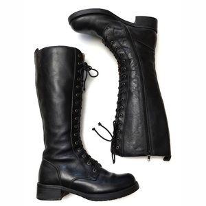 Miz Mooz Leather Lace Up Tall Combat Boots 6.5